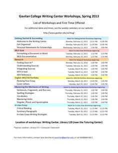 Spring 2013 workshops in the Gavilan College Writing Center