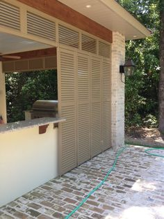 Our privacy wall system is designed to provide shading, protection & privacy. It's customizable & guaranteed to never rot or warp. Privacy Walls, Outdoor Settings, Florida Home, Shutters, Wall Design, Windows, Patio, Gallery, Outdoor Decor