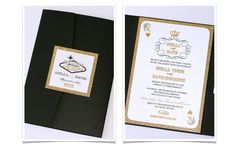 Las Vegas Wedding Invitation in Black, White and Gold Glitter - embellishedbytiffany.com