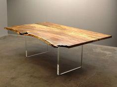David Alan Collection - Live edge mango slab dining table with custom acrylic panel bases. www.thedavidalancollection.com
