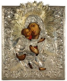 RUSSIAN ICON OF THE VLADIMIRSKAYA MOTHER OF GOD. Sold for $4,200 in NY, but where is the love?