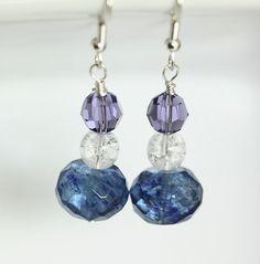 Crystal Bead Earrings Quartz Bead Dangle Earrings by ScoSiCa, $15.50