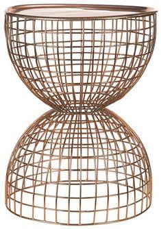 Table d'appoint Diabola Wire / Plateau amovible - Ø 38 x H 45,5 cm Cuivre - Pols Potten