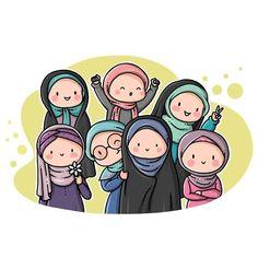 Cartoon Girl Images, Girl Cartoon, Cartoon Art, Backgrounds Tumblr Pastel, Hijab Drawing, Friend Cartoon, Islamic Cartoon, Anime Muslim, Hijab Cartoon
