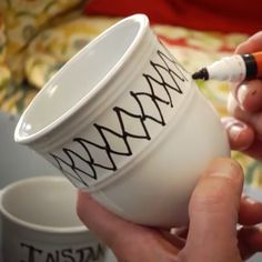 Need a fun activity for your Thanksgiving guests? Make personalized mugs! All you need are solid colored coffee mugs and permanent markers.