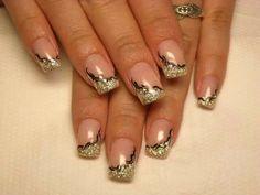 Gold - Black - Rhinestones - Nail design
