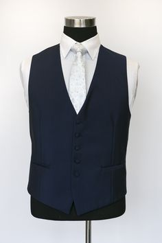 Classic Navy Waistcoat with Blue Floral Patterned Tie Wedding Waistcoats, Vest And Tie, Navy, Classic, Floral, Jackets, Blue, Collection, Dresses