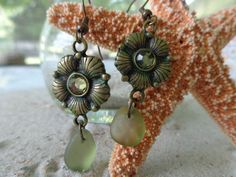 REAL Olive Green Seaglass Earrings by AngelinaWillowb on Etsy, $8.99