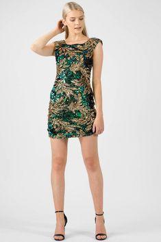 14b170c1eaed5 Leaf Sequin Bodycon Dress