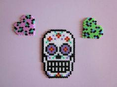 Hama-Beads Art: CALAVERA MEXICANA. CORAZONES LEOPARDO.