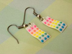 Retro Button Candy Earrings - Polymer Clay Food Jewelry. $14.00, via Etsy.