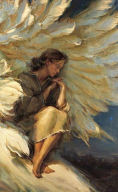 In The Shadow Of Your Wings Daniel F. 18 x This is the painting that made me aware of who Daniel Gerhartz was. I have always loved the angels and angel wings.it touched my heart. Art Prophétique, Op Art, Image Jesus, I Believe In Angels, Ange Demon, Prophetic Art, Psalm 91, Angels Among Us, Guardian Angels