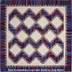 "High Country Log Cabin quilt – Extraordinary Log Cabin Quilts, 2013. The book is due out in the fall of 2013. Designed by Judy Martin. Pieced by Chris Hulin. Quilted by Page Johnson. 103"" x 103"". Alternate size of 63"" x 63"" also presented."