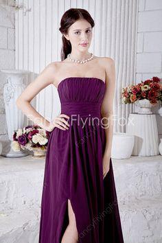 A-line Full Length Grape Chiffon Strapless Neckline Marine Ball Dresses Front Slit