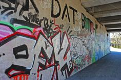 Graffiti: Street Art or Vandalism? Earthy, Graffiti, Street Art, Pottery, Neon Signs, Day, Quebec, Fun Stuff, Bridge