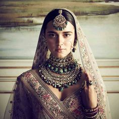 What's better than being a Sabyasachi bride and donning one of his creations for your big day? Topping it up with a bridal jewellery set from the grand master to go along with it. We delve into the Sabyasachi jewellery collection. Indian Wedding Jewelry, Indian Bridal, Bridal Jewelry, Bollywood, Sari, Silk Lehenga, Bridal Lehenga, Floral Lehenga, Indian Look