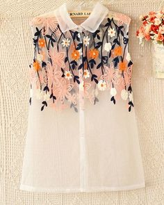 Pink Floral Embroidery White Organza Sheer Blouse Top, wear with light sweater Look Fashion, Fashion Details, Fashion Outfits, Womens Fashion, Fashion Design, Film Fashion, Fashion 2014, Traje Casual, Casual Outfits