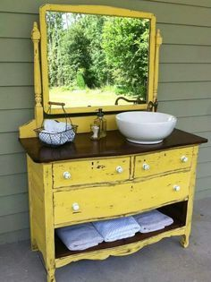 Dresser made into vanity.