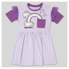 She'll be ready for a day of adventures with Hello Kitty and her friends in this Hello Kitty® A-Line Dress. This comfy dress is made with a touch of spandex so it stretches and easily moves with her as she plays. A graphic of Hello Kitty and a front pocket make it perfectly fun, while the ruffles at the sleeves keep it sweet as can be. Pair with sparkly flats or flip-flops when the weather's warm, then layer on bright pink tights and black booties for an adorable cooler-weath...