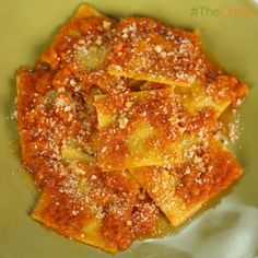 Mario Batali's Acorn Squash Ravioli In Sugo Finto, I think he used butternut on the show.sugo finto is pureed garlic, carrot, celery, onion. This is meatless but I don't think you'll miss it. The Chew Recipes, Fall Recipes, Pasta Recipes, Yummy Recipes, Pasta Dishes, Food Dishes, Main Dishes, The Chew Mario Batali, Filled Pasta