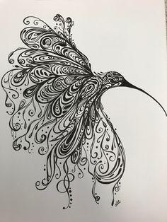 Zentangle hummingbird Zentangles, Body Art Tattoos, Hummingbird, Art Drawings, Creativity, Abstract, Artwork, Summary, Work Of Art