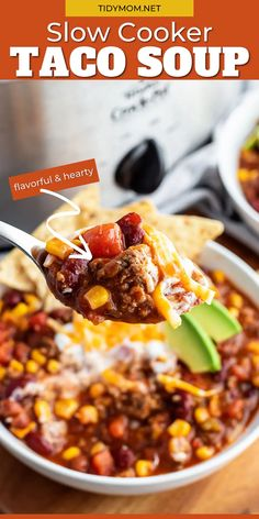 Turn a simple dinner into a feast by serving SLOW COOKER TACO SOUP! This family favorite recipe is flavorful, hearty and a snap to make for the chilliest of days. Be ready for everyone at your table to want seconds! PRINTABLE RECIPE at TidyMom.net Slow Cooker Tacos, Slow Cooker Recipes, Crockpot Recipes, Great Recipes, Favorite Recipes, Sunday Recipes, Amazing Recipes, Yummy Recipes, Chili Recipes