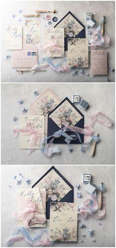 Rose Pink and Navy Calligraphy Wedding Invitations 01botRCz #weddings #weddingideas #invitations #vintage #vintageweddings ❤️ http://www.deerpearlflowers.com/botanical-wedding-inviations-from-4lovepolkadots/