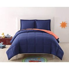 Kids Solid Geometric Square Pattern Comforter Twin XL Set Soft & Cozy Two Tones Bedding Boho Chic Fun Abstract Bold Colors Navy Blue Orange