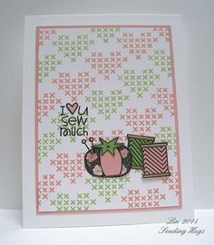 handmade card: SSS Jan 22 3 by quilterlin . luv the cross stitched hears in soft green and cantaloupe . paper pieced ribbon and pin cushion . Quilt Patterns, Stitch Patterns, Sewing Cards, Sending Hugs, Scrapbook Cards, Scrapbooking, Paper Smooches, Cross Stitch Cards, Simon Says Stamp