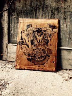 Vintage Harley-Davidson Motorcycle Engine Home Decor
