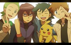 Pokemon - Cilan, Paul, Ash, and Gary, who looks more mature