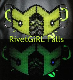 UV/Glow in the Dark Yellow Mortal Kombat inspired Cyber Raver Kandi Mask, Custom Order - RivetGiRL Falls