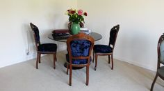 Beautiful re-upholstered dining chairs in Clarke and Clarke Crush fabric. Revitalising old furniture #personal