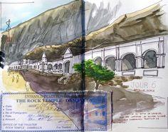 Temple de Dambula Sri Lanka Stillman&birn # watercolor # aquarelle # sketch # travel journal # carnet de voyage # Sri Lanka