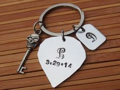 monogram heart keychainskeleton keychain by coolkeychain on Etsy Key Chain, Hand Stamped, Monogram, Personalized Items, Heart, Unique Jewelry, Handmade Gifts, Stuff To Buy, Etsy
