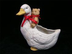 Vintage 1970's Porcelain Bisque Teddy Bear & Goose Planter