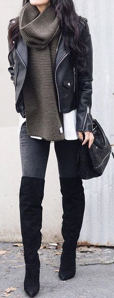 Edgy Grunge Winter Outfits Ideas for Teen Girls for College for School - Leather Jacket Turtle Neck Sweater - Thigh High Boots - www.Poshiroo.com #womenclotheswinter