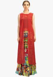 Admyrin Orange Solid Kurti With Flared Skirt Online Shopping Store