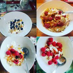 Breakfast 100% natural full fat Greek yoghurt Raspberries, Strawberries, blueberries, pears, cinnamon & crushed almonds