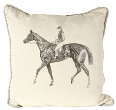 Horse & Jockey Linen Pillow // whitesmercantile.com