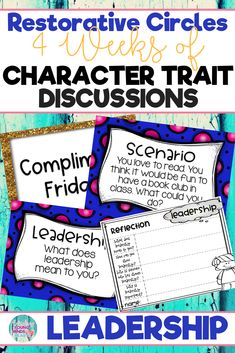 Conduct restorative and community circles in your classroom with these ready to use templates that are full of questions, discussion topics and ideas that can be used during circle time. This product stems around the character trait of leadership and includes discussion questions, scenarios and/or act it out activities. Click the link below to have your students listening, discussing and learning from each other! #restorativecircles #charactertraits #circletime #charactereducation