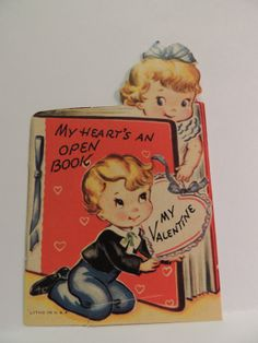 43 Vintage Valentine Card 1950's Kids My Heart Is Open Book Library Teacher | eBay