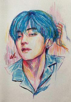 Kpop Drawings, Art Drawings Sketches, Realistic Drawings, Crazy Drawings, Taehyung Fanart, Aesthetic Drawing, Kpop Fanart, Art Sketchbook, Art Inspo