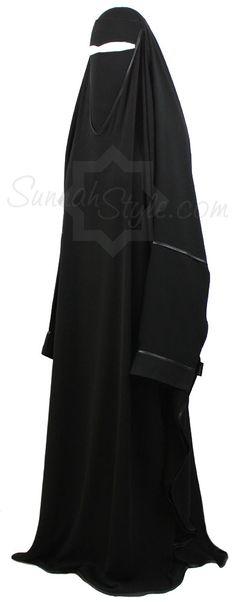 Satin Trimmed Overhead Abaya by Sunnah Style #SunnahStyle #Islamicclothing #abayastyle