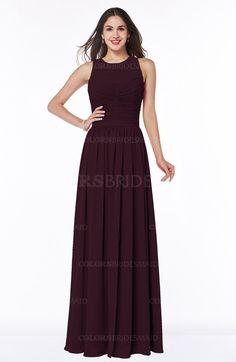 Burgundy Romantic Jewel Zipper Chiffon Pleated Plus Size Bridesmaid Dresses (Style D03117)