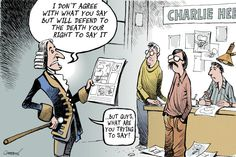 What are you trying to say??? Is there a point?   Patrick Chappatte - Le Temps, Switzerland - French satirical magazine prints Muhammad cartoons - English - Islam, Religion, Muhammad, Cartoon, Humor, Demonstration, Middle East, Press, France, Charlie Hebdo, Media, Voltaire
