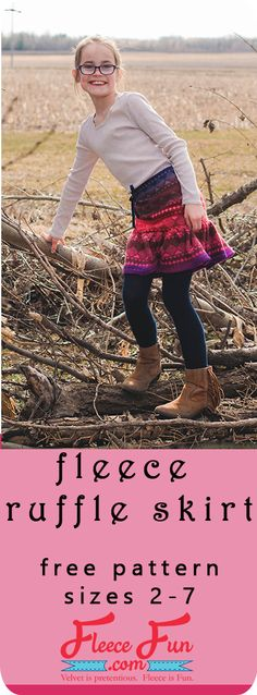 This fleece ruffle skirt tutorial is an easy sewing project. It looks so cute ov… This fleece ruffle skirt tutorial is an easy sewing project. It looks so cute over a pair of leggings and is a great way to add layers for warmth! Sewing Projects For Beginners, Sewing Tutorials, Sewing Ideas, Sewing Tips, Teen Sewing Projects, Sewing Lessons, Sewing Patterns Free, Clothing Patterns, Fleece Patterns
