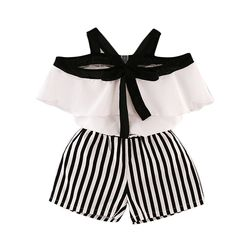 957e03e0ddf Summer Girls Clothes Sets Top+Striped Shorts 2pcs