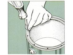 Punch holes in a paint-can rim with a 4d finish nail. This helps paint along the rim drain into the can.