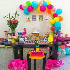 Party Summer Ideas Fun 34 Ideas For 2019 Hawaiian Birthday, Luau Birthday, Cool Birthday Cakes, Birthday Parties, Birthday Ideas, Girl Birthday, Aloha Party, Luau Party, Flamingo Party